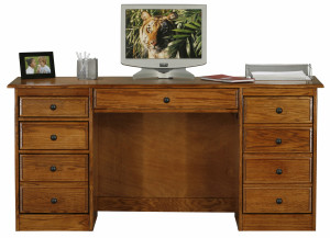 Classic-Oak-Computer-Desk-with-Double-Pedestal